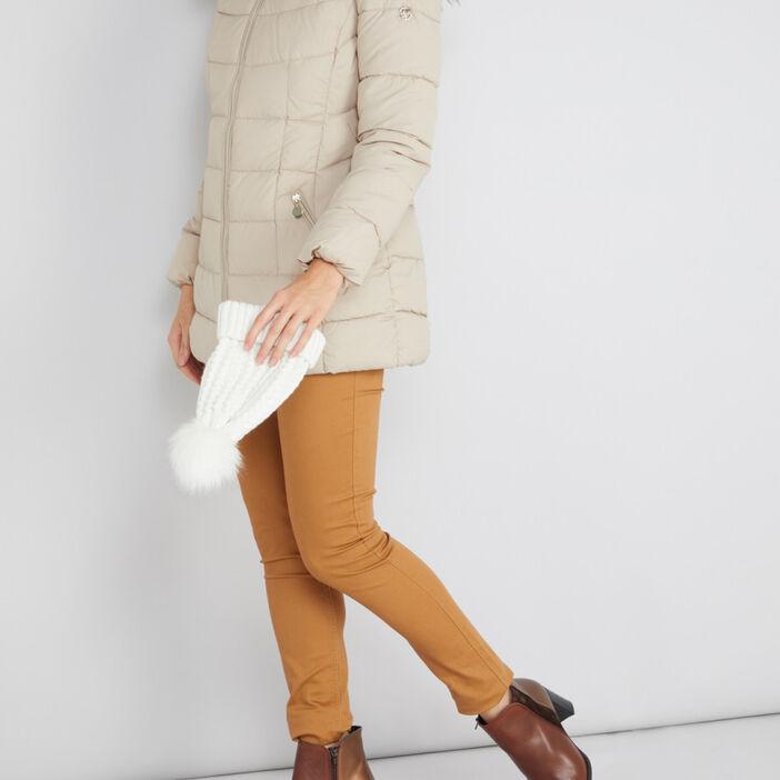 Doudoune à capuche matelassée femme beige