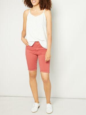 Bermuda 5 poches uni rose framboise femme