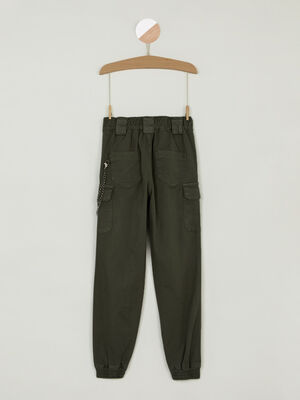 Pantalon cargo chaine decorative vert kaki fille