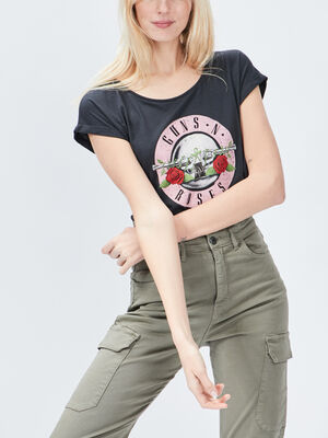 T shirt Guns N Roses gris femme