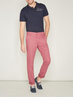 Pantalon droit uni rose framboise homme