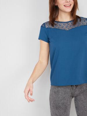 T shirt uni avec dentelle bleu canard femme