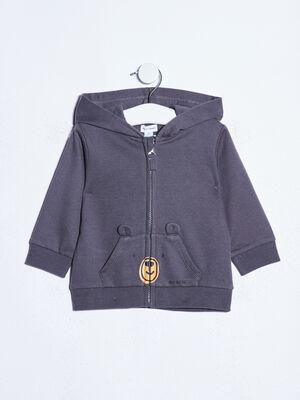 Gilet zippe a capuche gris fonce bebeg