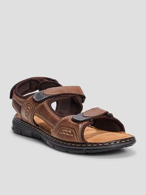 Sandales en cuir marron homme