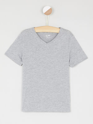 T shirt chine col V gris garcon