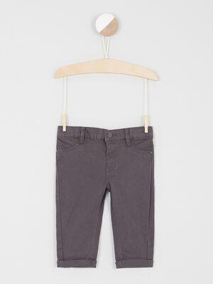 Pantalon uni coupe droite gris fonce garcon