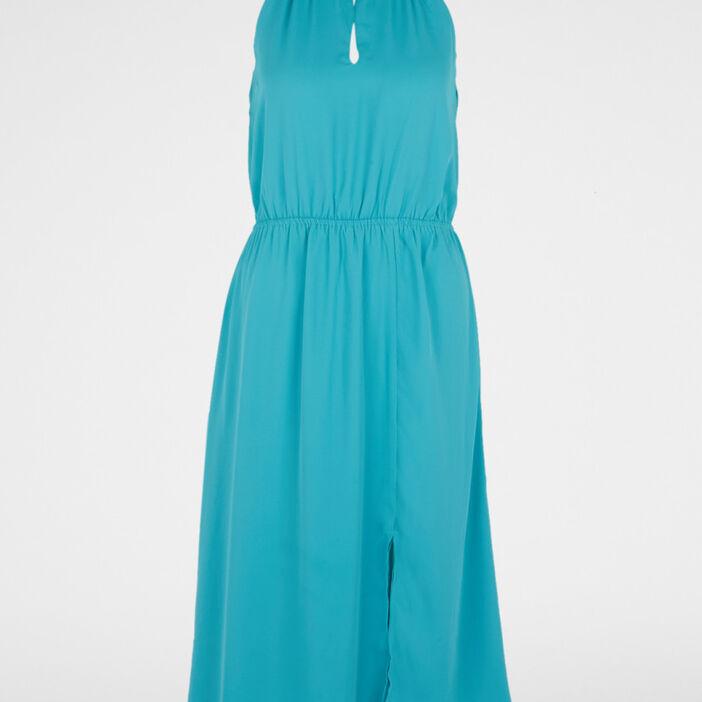 Robe col choker femme bleu turquoise