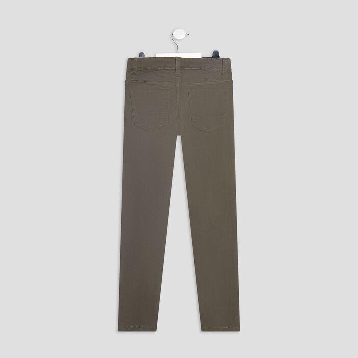 Pantalon skinny stretch garçon vert kaki