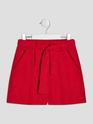 Short ample ceinture rouge fille