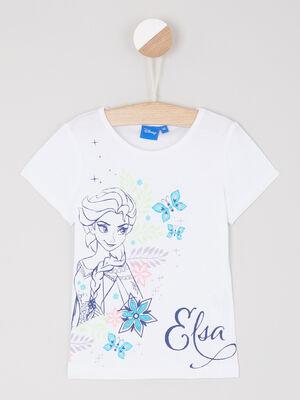 T shirt en coton La Reine des Neiges blanc fille