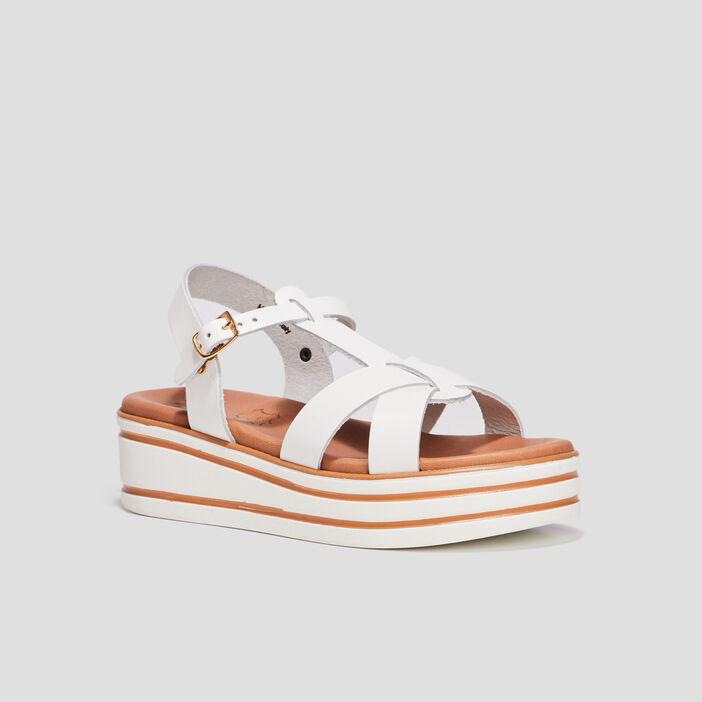 Sandales compensées fille blanc