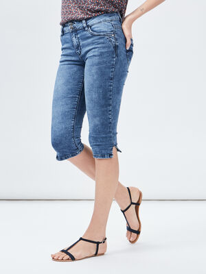 Pantacourt slim Creeks denim double stone femme