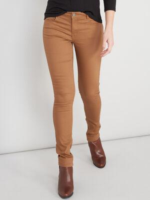 Pantalon skinny uni camel femme