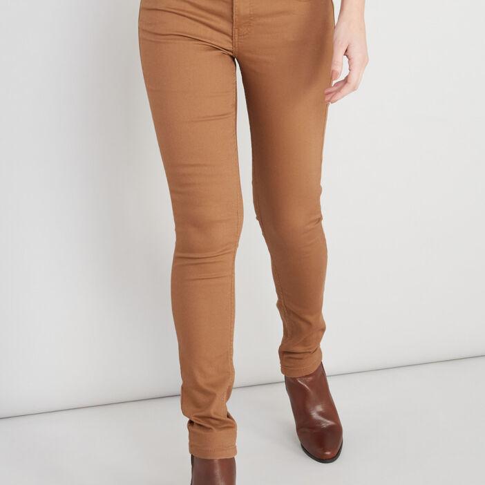 Pantalon skinny uni femme camel