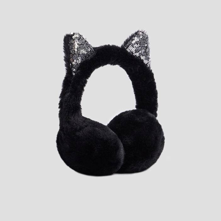 Cache-oreilles avec sequins mixte noir