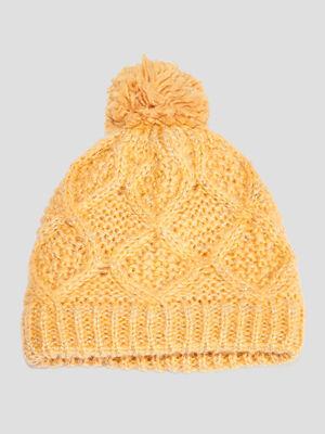 Bonnet a pompon jaune moutarde fille