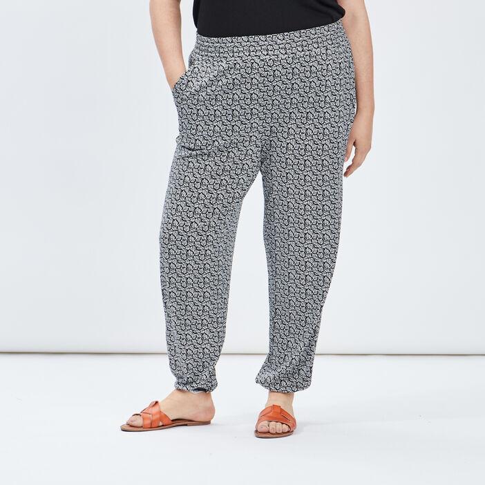 Pantalon sarouel fluide femme grande taille noir