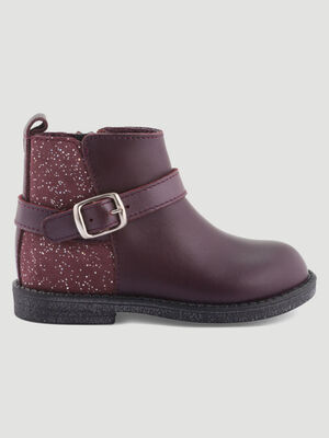 Bottines en cuir boucle metallique prune bebe