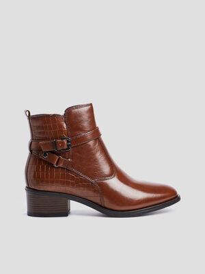 Bottines zippees a boucles marron femme