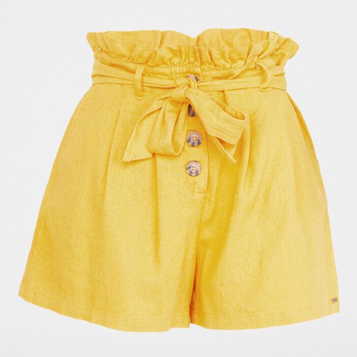 Short paperbag boutonné femme jaune moutarde