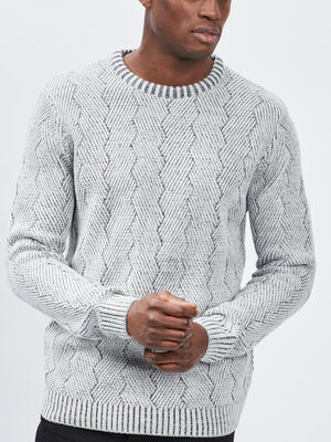 Pull avec col rond gris homme