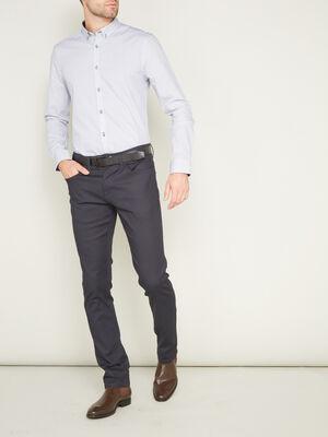 Pantalon droit uni bleu marine homme