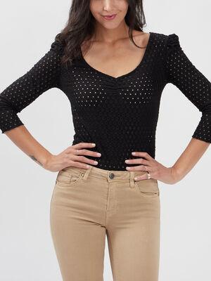 T shirt manches 34 Liberto noir femme