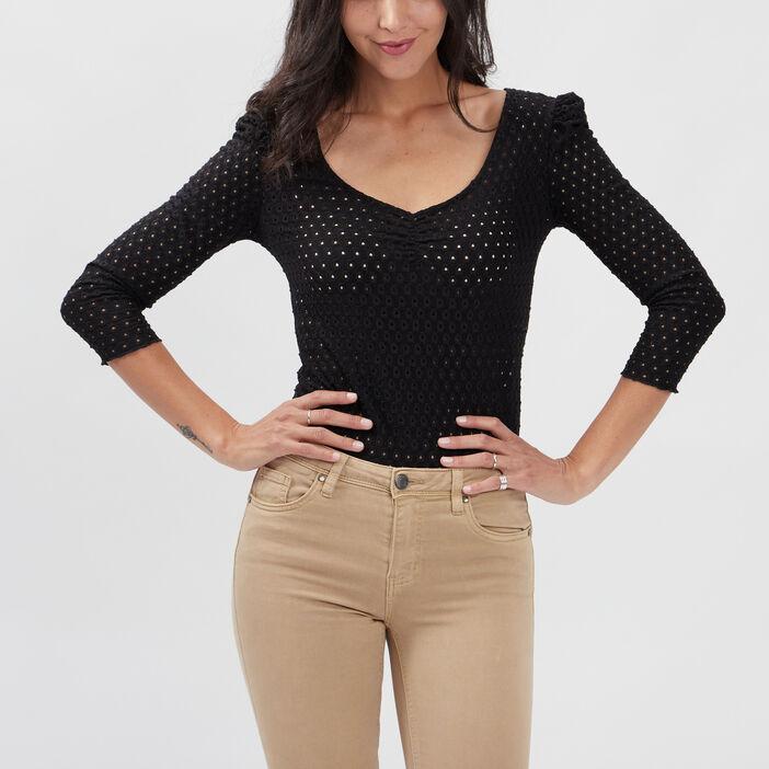 T-shirt manches 3/4 Liberto femme noir