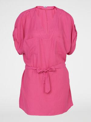 Chemise manches courtes rose fushia femme