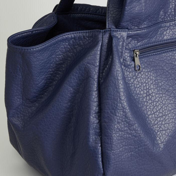 Sac shopper souple aspect grainé femme bleu