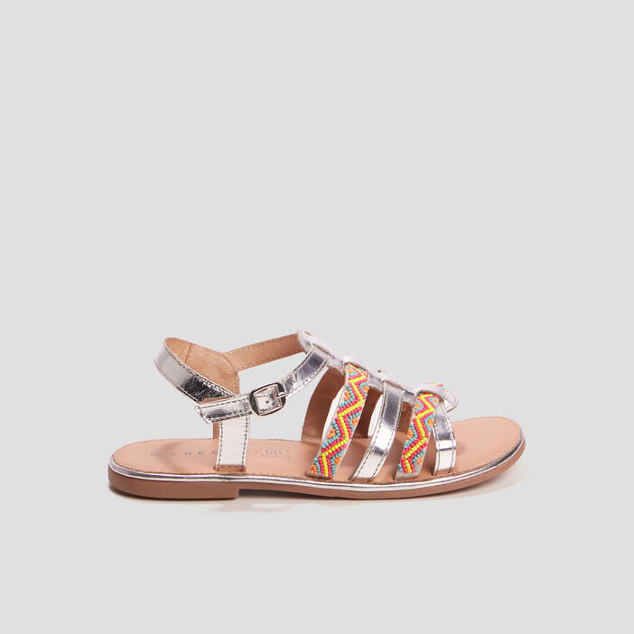 Sandales avec perles Creeks fille couleur argent