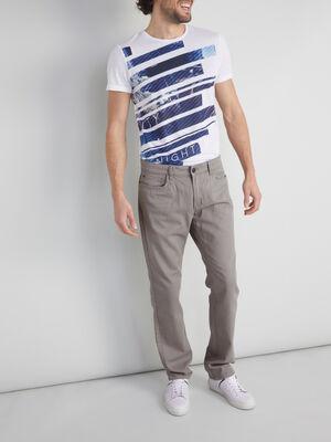 Pantalon regular coton uni gris homme