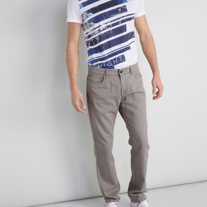 Pantalon regular coton uni homme gris