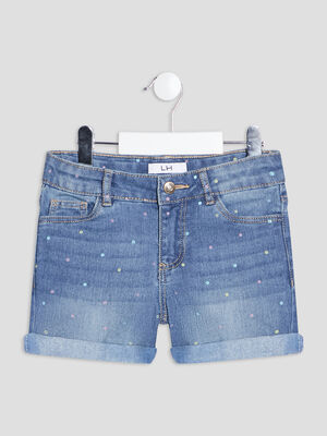 Short droit en jean denim double stone fille