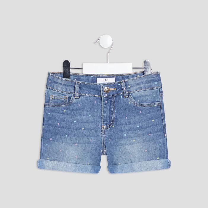 Short droit en jean fille denim double stone