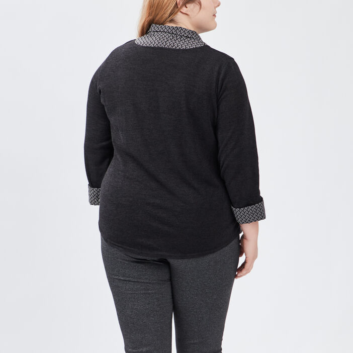 Pull 2-en-1 grande taille femme noir