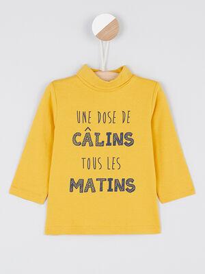 T shirt a col roule jaune garcon