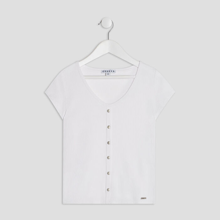 T-shirt manches courtes Creeks fille blanc