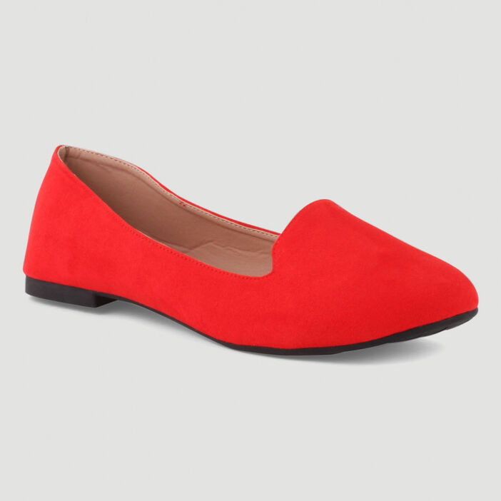 Ballerines unies esprit mocassins femme orange corail