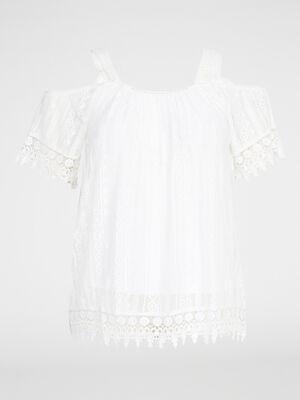 T shirt macrame grande taille ecru femme