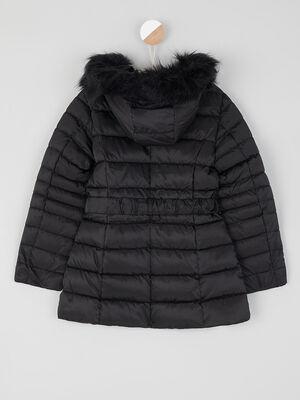 Doudoune zippee a taille elastiquee noir fille