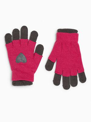 Lot gants et mitaines coeur rose fushia mixte