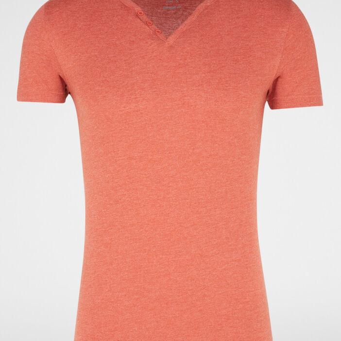 T-shirt col tunisien uni homme marron cognac