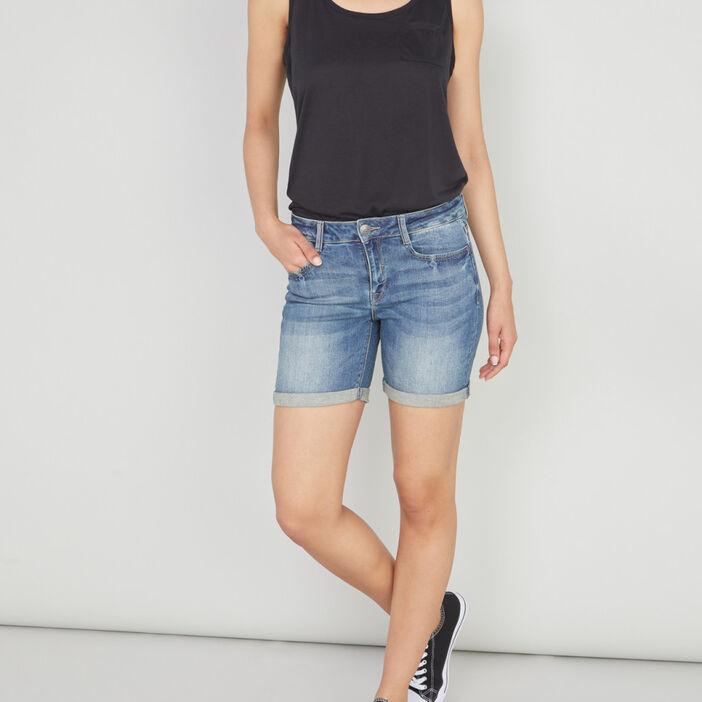 Short en jean délavé femme denim stone