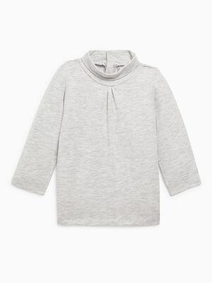 T shirt col roule uni gris fille