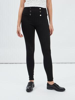 Pantalon tregging avec boutons noir femme