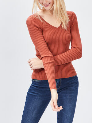 Pull cotele avec col en V orange fonce femme