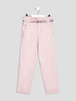 Pantalon paperbag ceinture rose clair fille