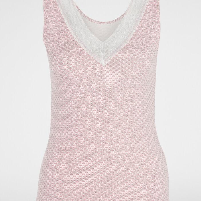 Caraco col V avec dentelle femme rose framboise