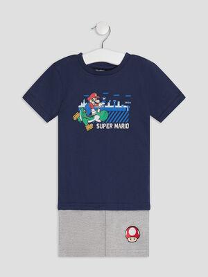 Ensemble pyjama Mario bleu marine garcon